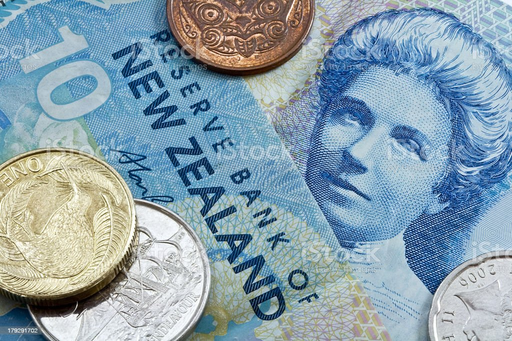 ten new zealand dollar with coins stock photo