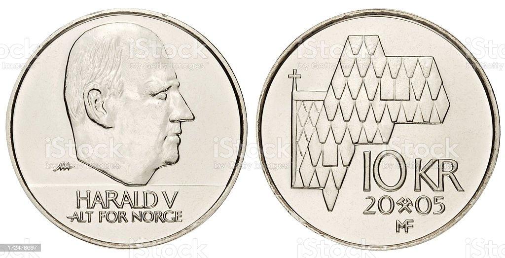 Ten Norwegian Krones on white background royalty-free stock photo