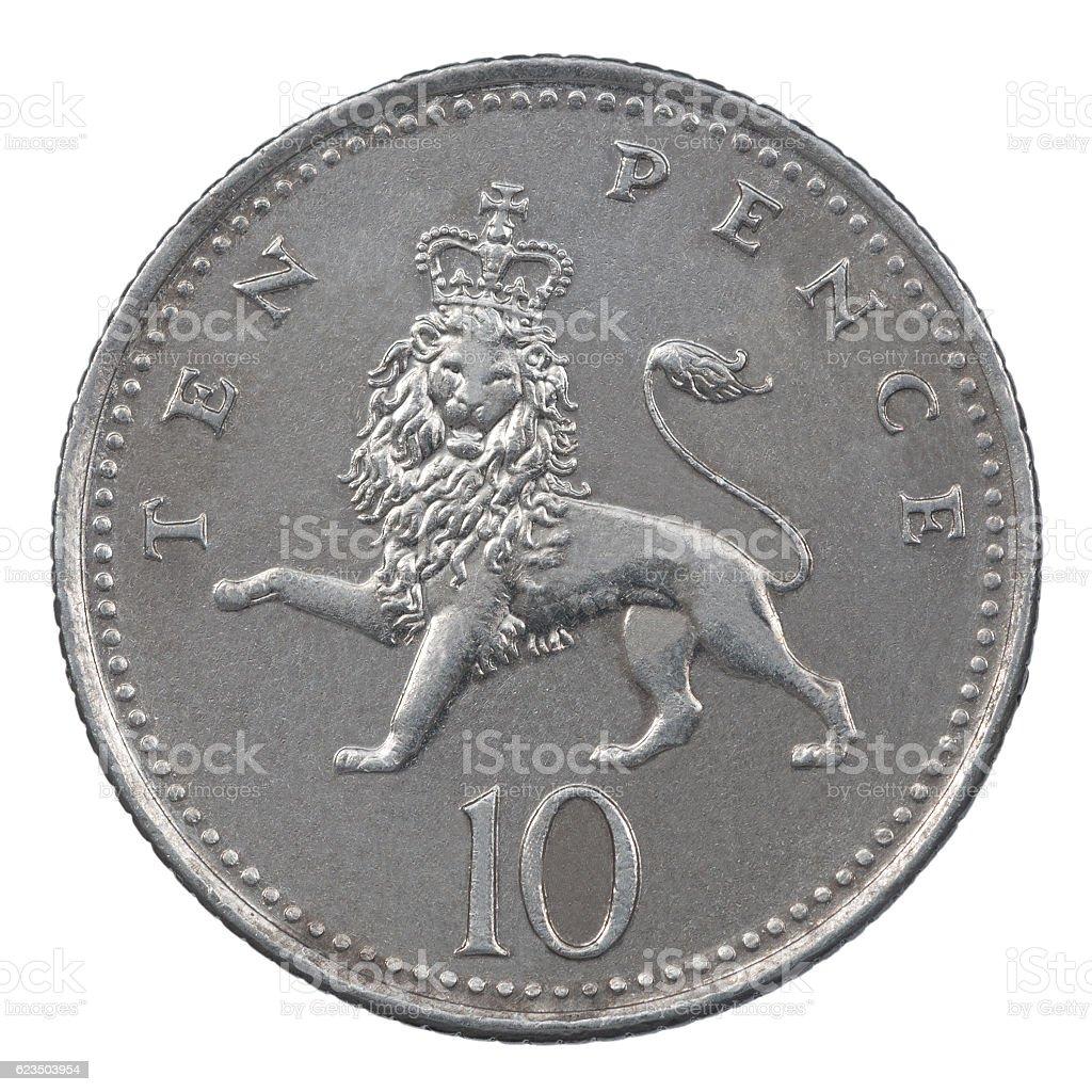 Ten Pence coin stock photo