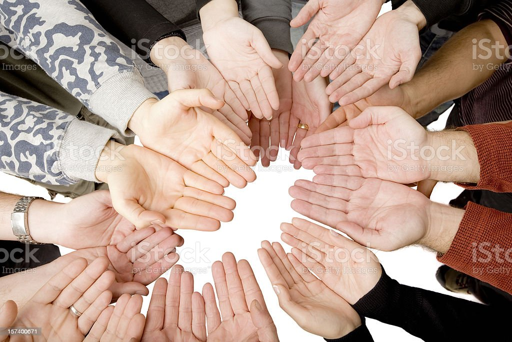 Ten people putting hands together royalty-free stock photo
