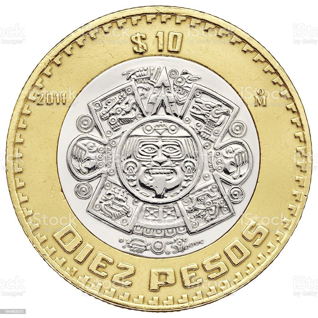 Ten pesos Mexican coin with clipping path stock photo