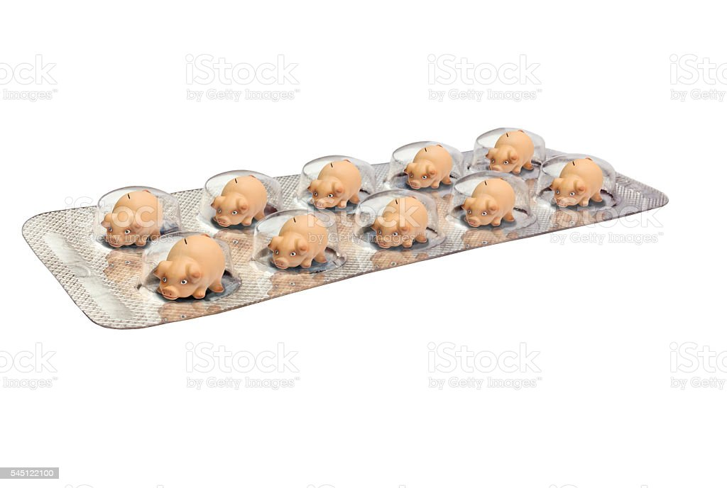 Ten Piggy Banks in a  Blister Pack stock photo