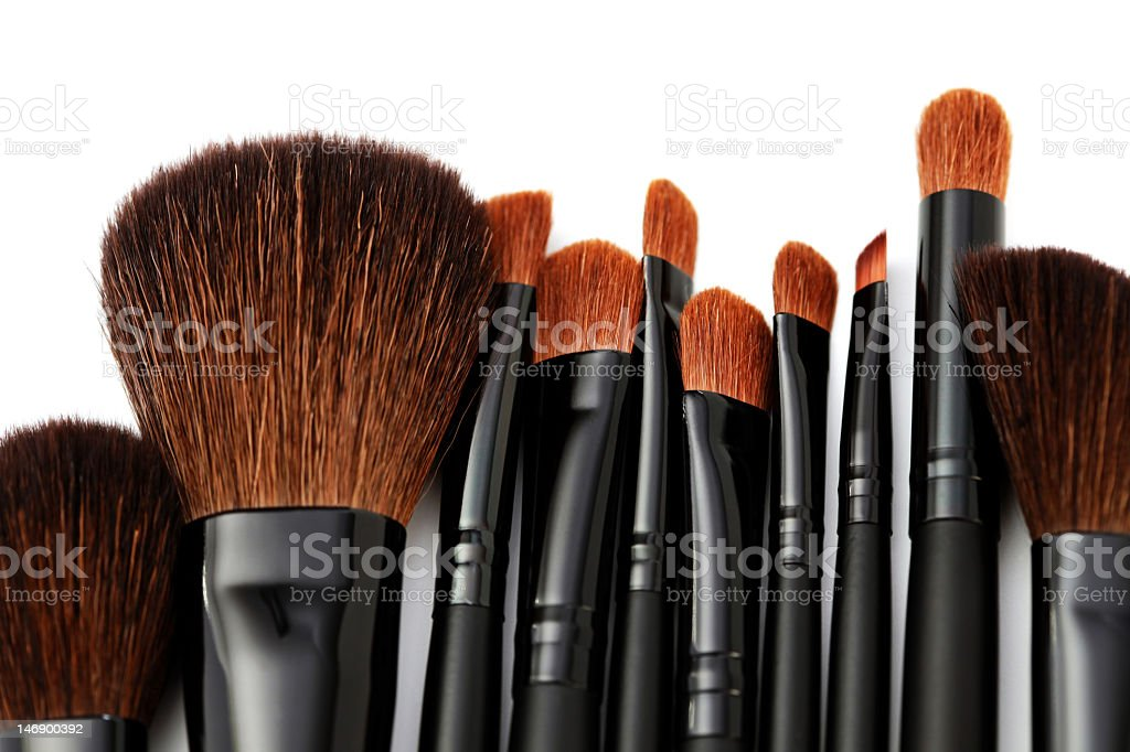Ten professional make-up brushes  royalty-free stock photo