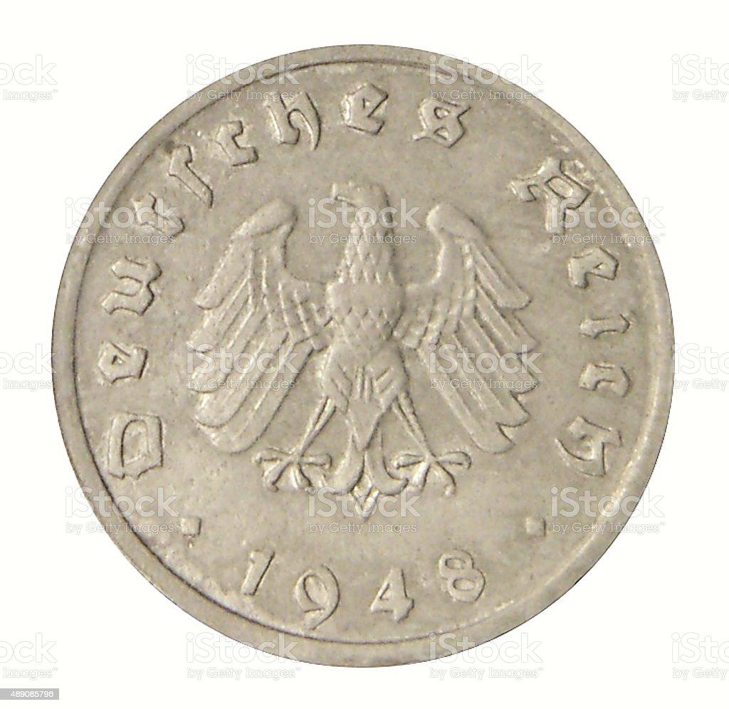 Ten reichspfennig 1948 stock photo
