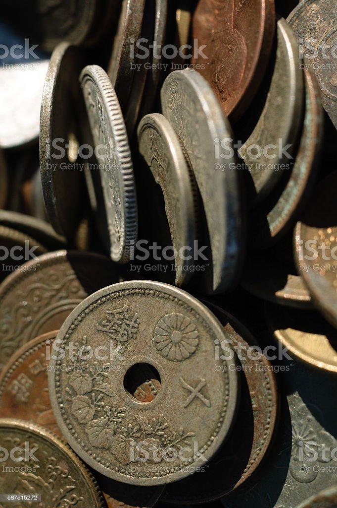 Ten sen coin (vertical position) stock photo