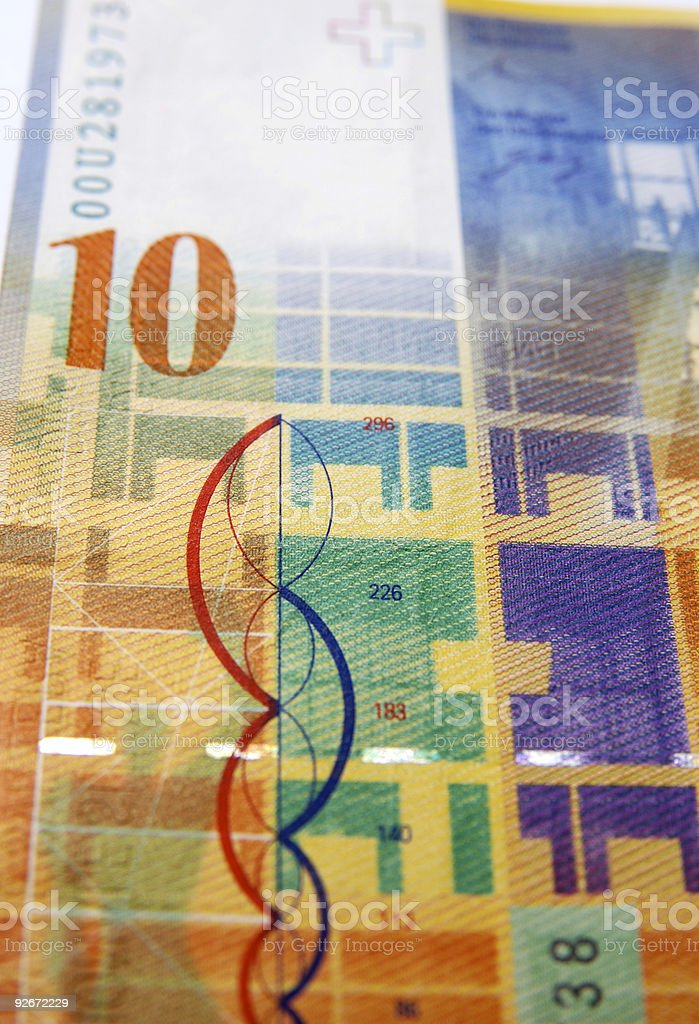 Ten swiss franc note stock photo