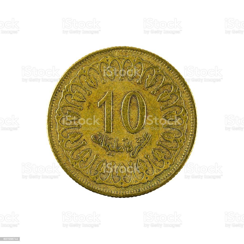 ten tunisian millimes coin (2005) isolated on white background stock photo