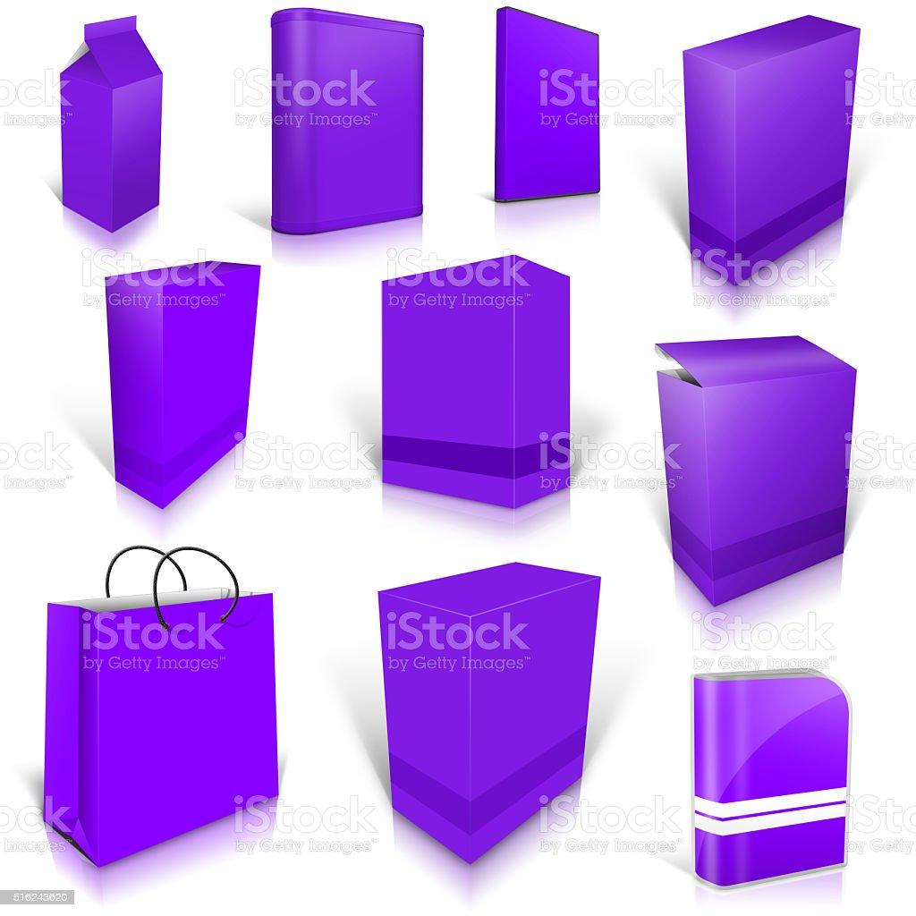 Ten violet blank boxes isolated on white stock photo