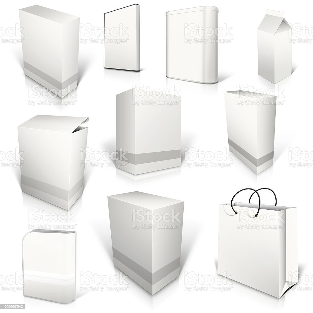 Ten white blank boxes isolated on white stock photo
