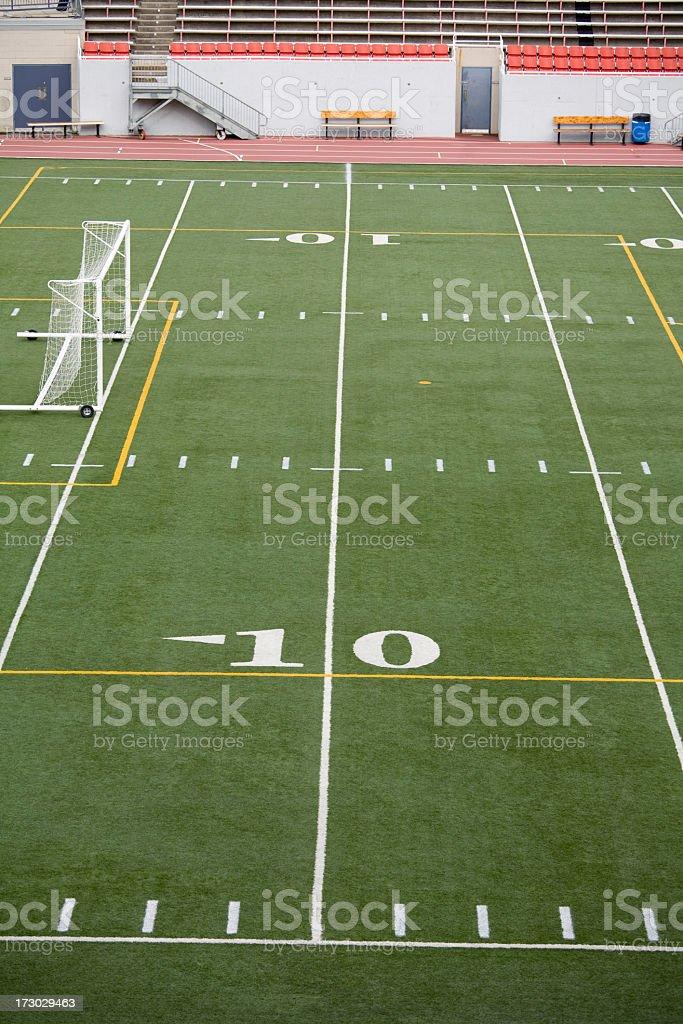 Ten yard line in a football stadium royalty-free stock photo