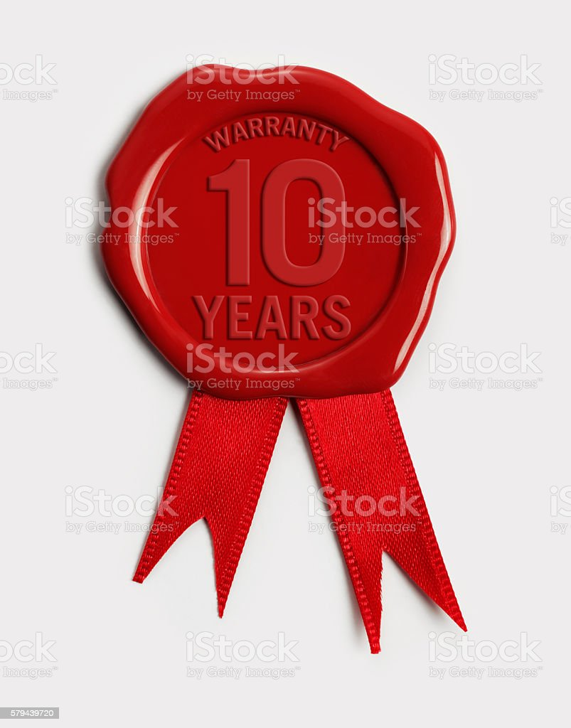 ten year guarantee Wax Stamp stock photo