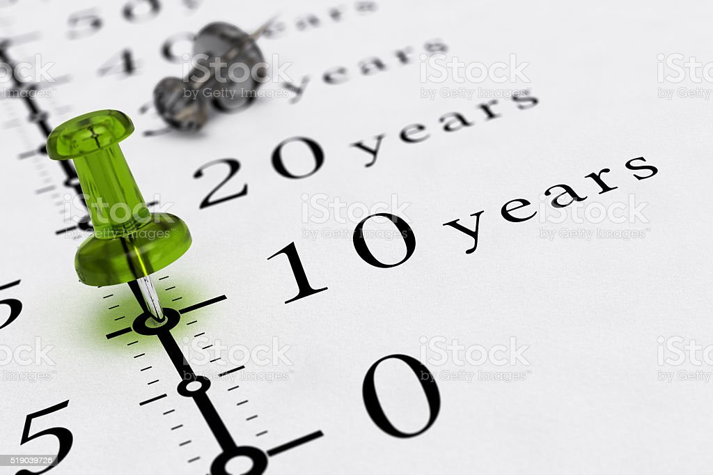 Ten Years Duration stock photo