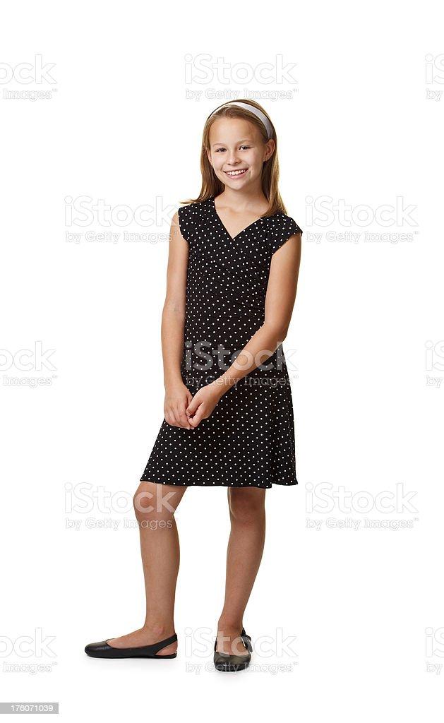 ten years old girl in black dress royalty-free stock photo