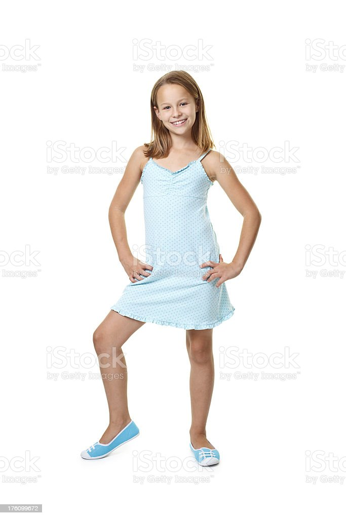 ten years old girl in blue dress royalty-free stock photo