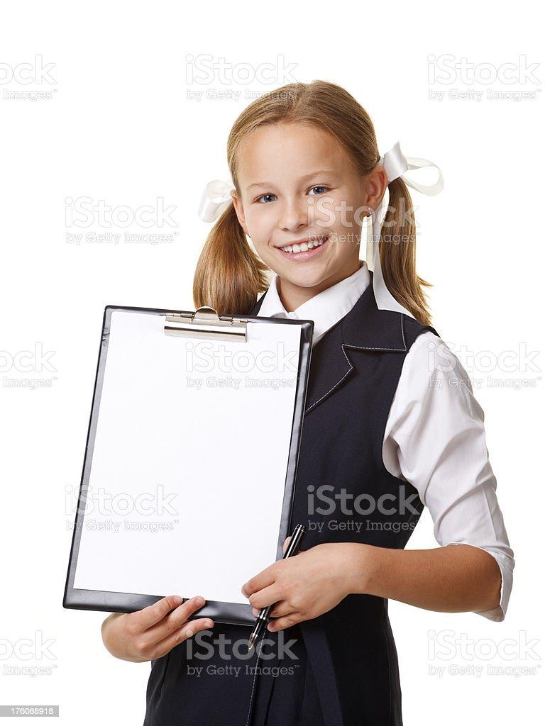 ten years old girl in school uniform royalty-free stock photo