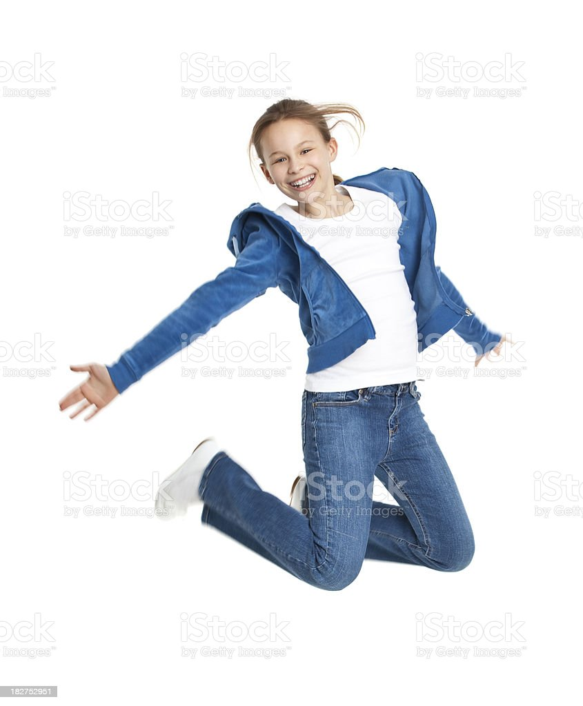 ten years old girl jumping royalty-free stock photo