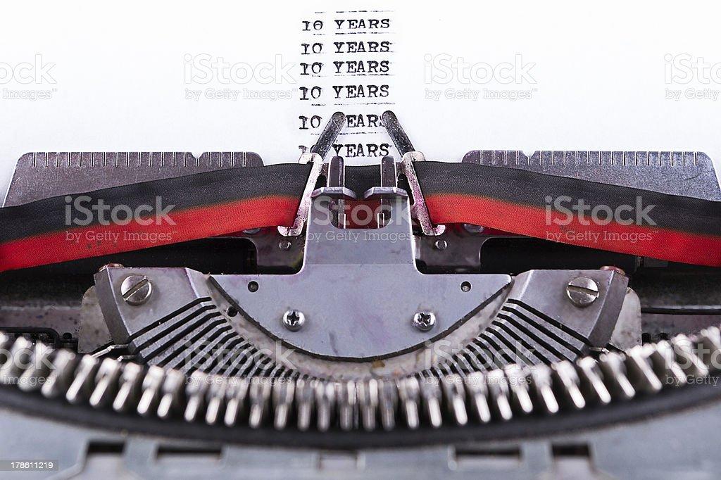 ten years written on an old typewriter . royalty-free stock photo