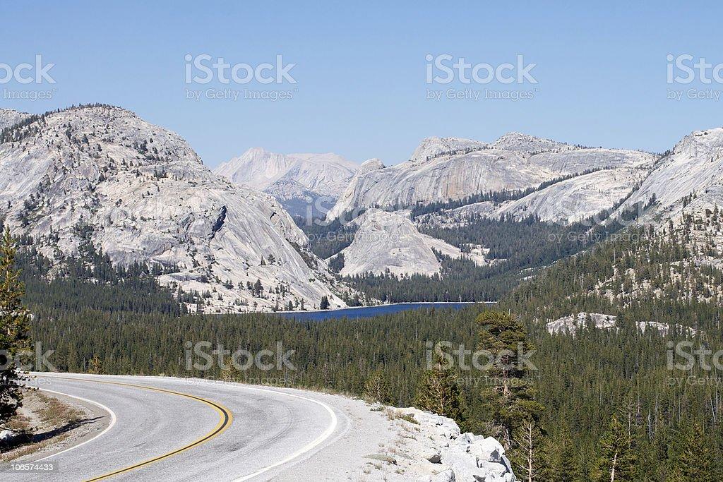 Tenaya Lake north from Olmsted Point, Yosemite. stock photo