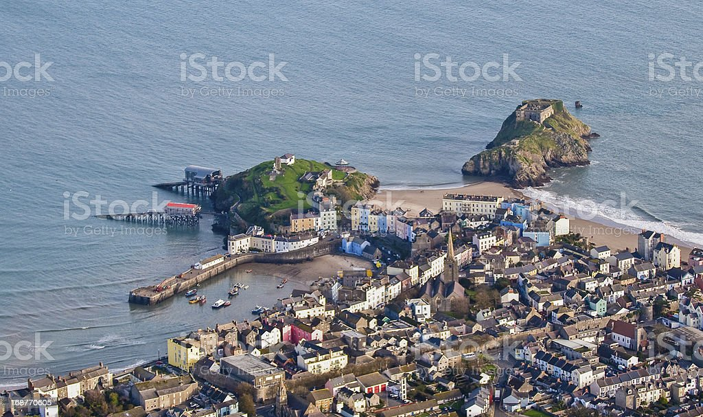 Tenby from aerial perspective stock photo