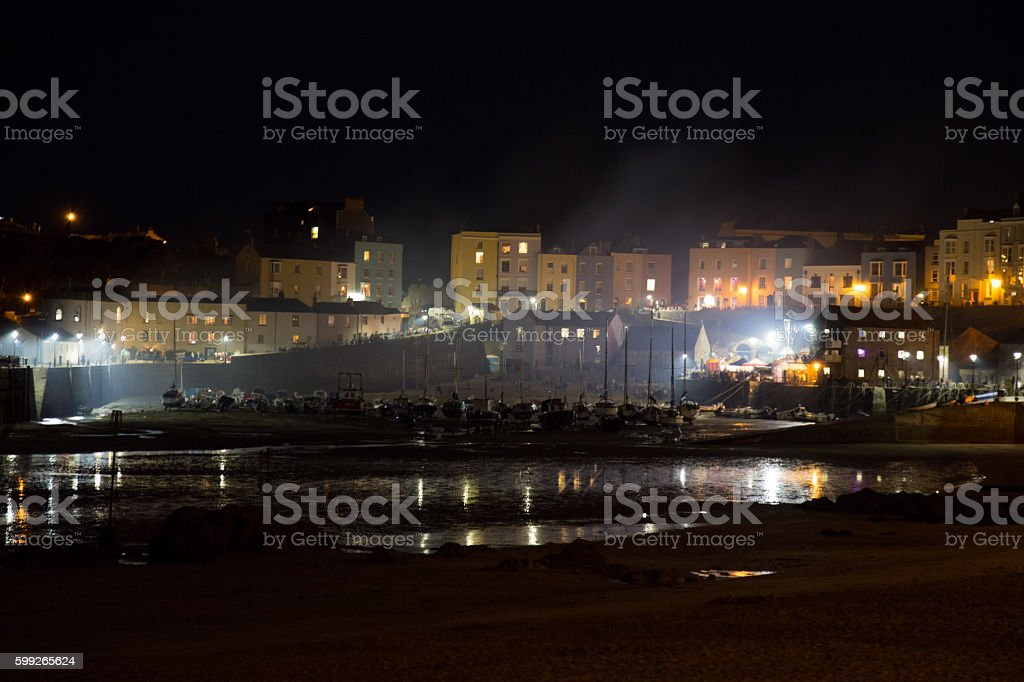 Tenby Harbour at Night Atmospheric stock photo