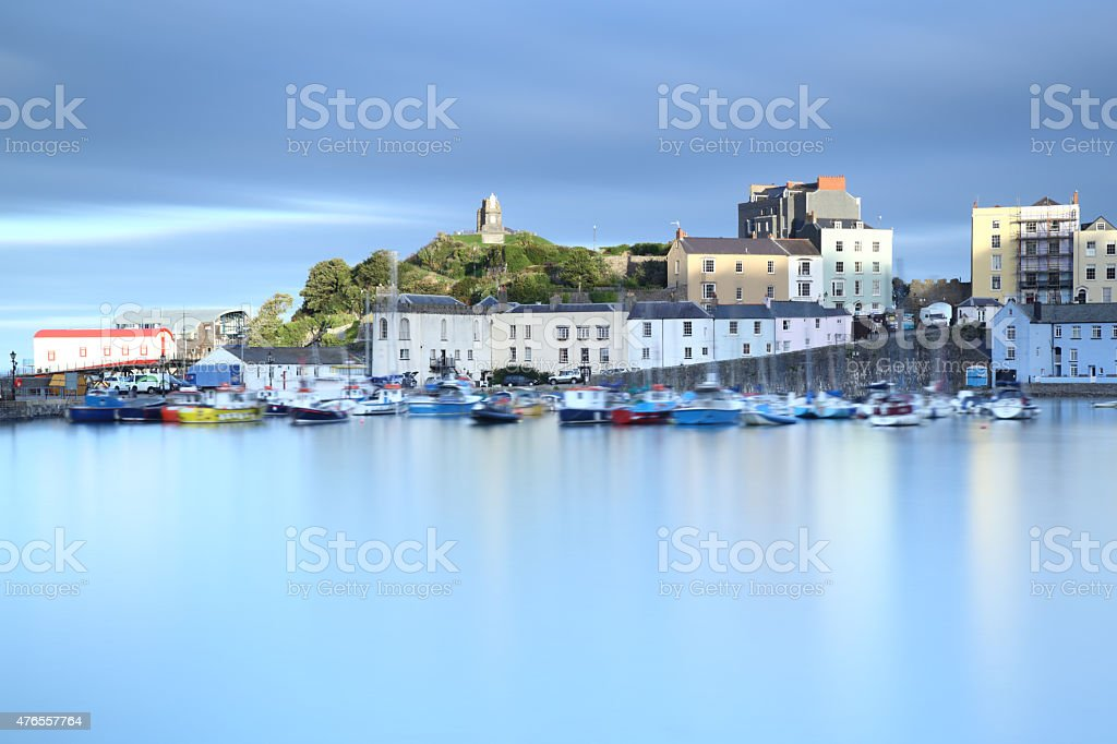 Tenby Harbour, West Wales, UK, at sunset. stock photo