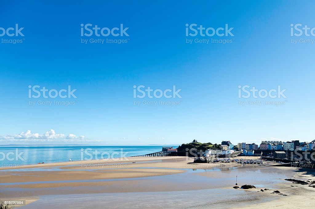 Tenby North Beach At Low Tide stock photo
