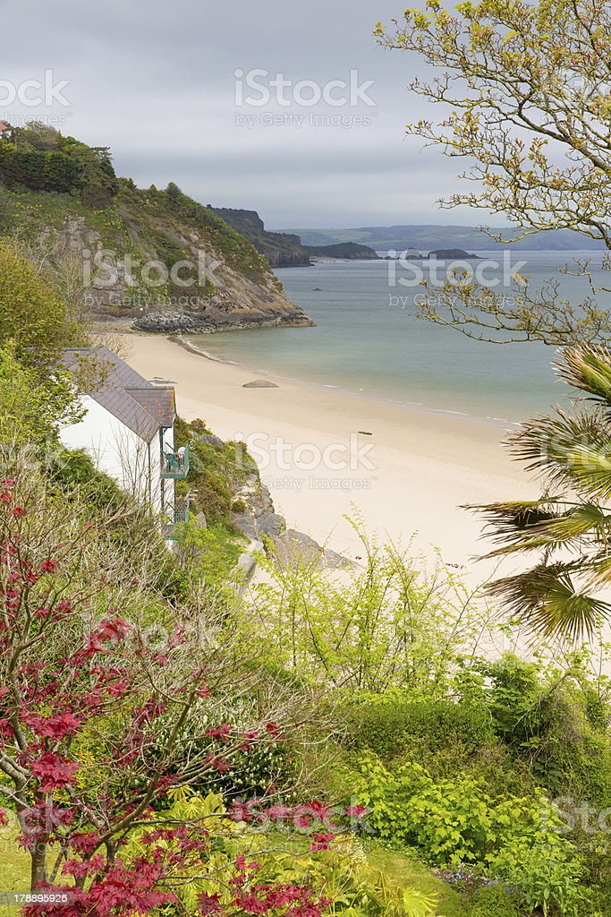 Tenby Pembrokeshire Wales north beach stock photo