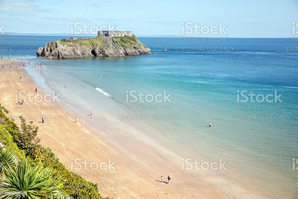 Tenby South Beach and island stock photo