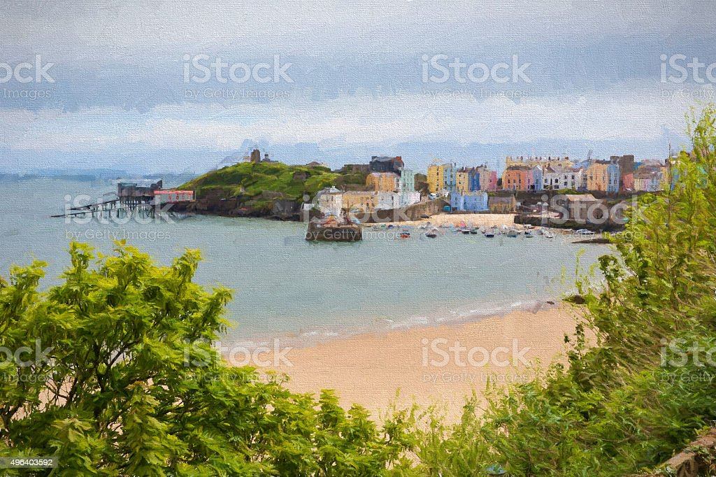 Tenby Wales beach and town Pembrokeshire illustration like oil painting stock photo