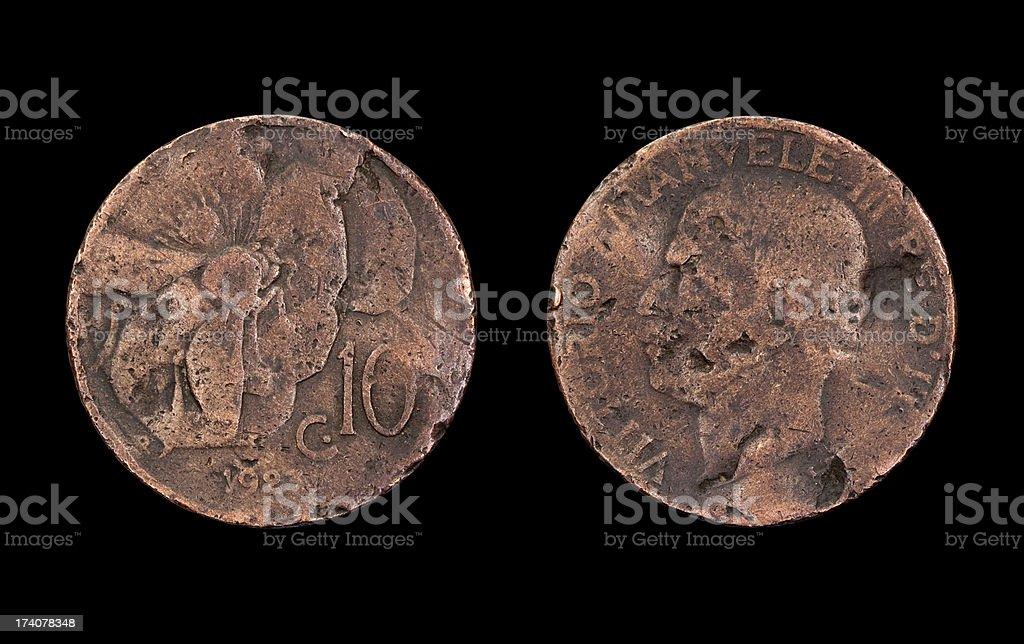 Ten-Centesimo-Coin, Italy, 1923 stock photo