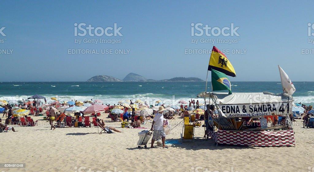 Tend at Ipanema beach in Rio de Janeiro stock photo