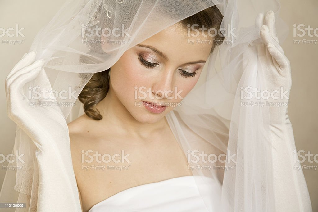 Tender bride. XL royalty-free stock photo