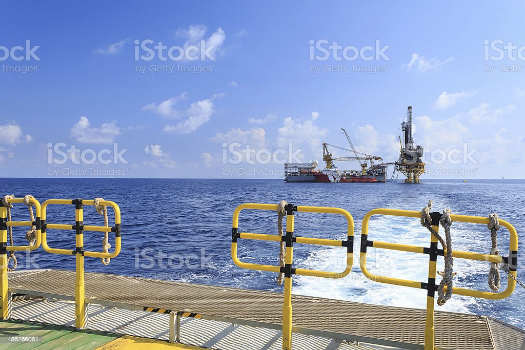 Tender Drilling Oil Rig (Barge Oil Rig) royalty-free stock photo