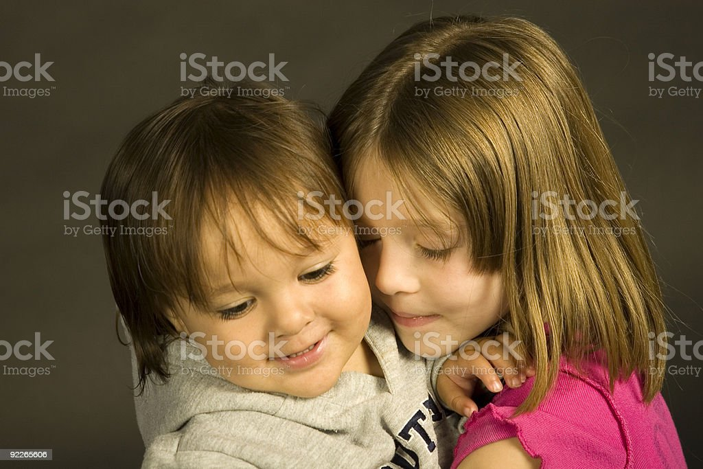 Tender Moment Loving Sisters royalty-free stock photo