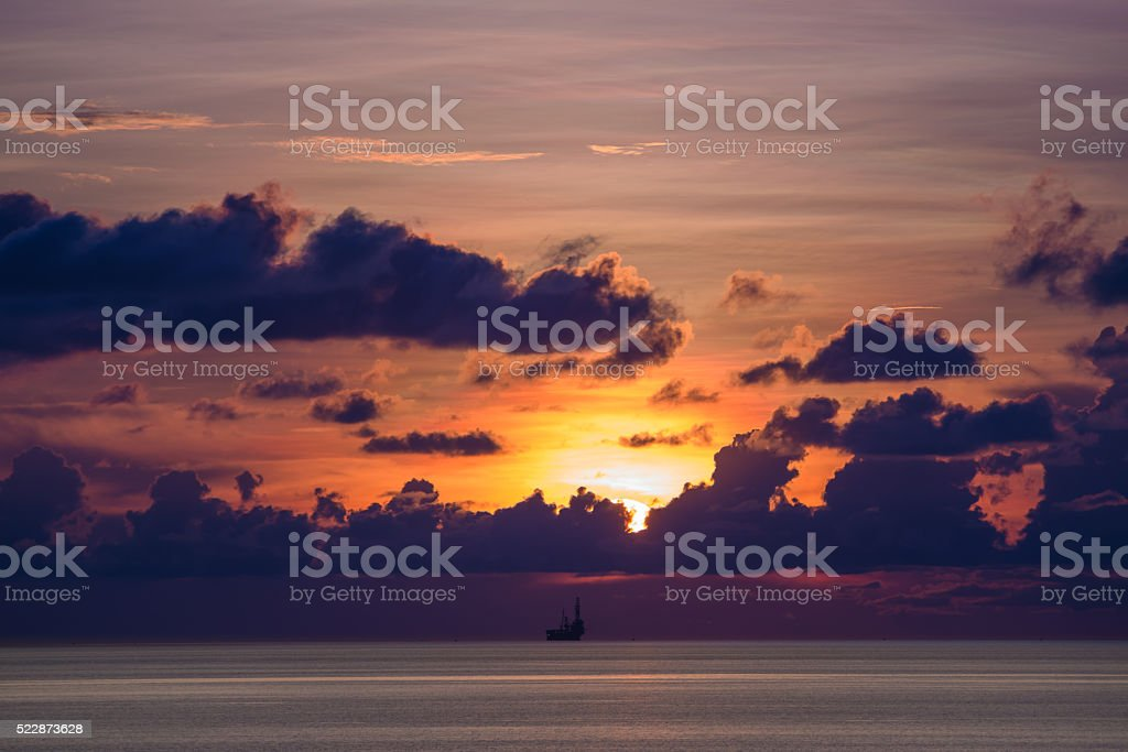 Tender oil and gas rig in the ocean stock photo
