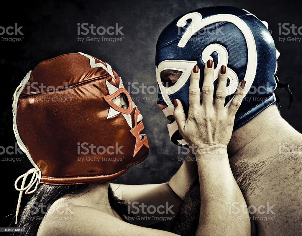 tender lucha libre moment royalty-free stock photo