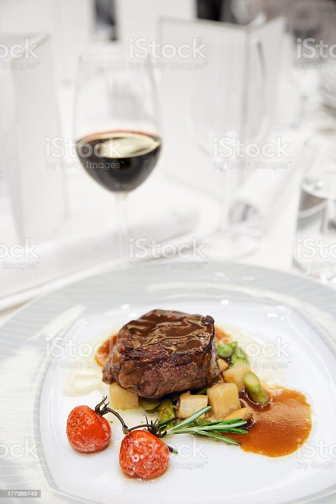 Tenderloin steak on restaurant table royalty-free stock photo