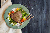 Tenderloin steak with grilled asparagus and cherry tomatoes