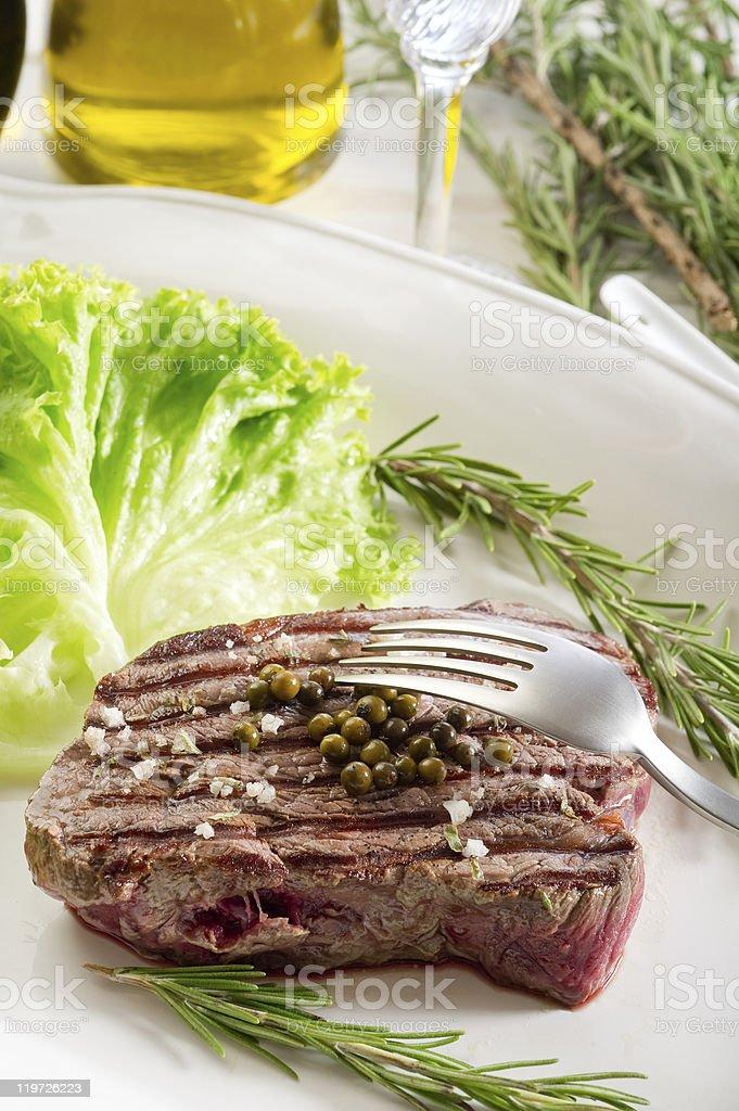 tenderloin with salad royalty-free stock photo