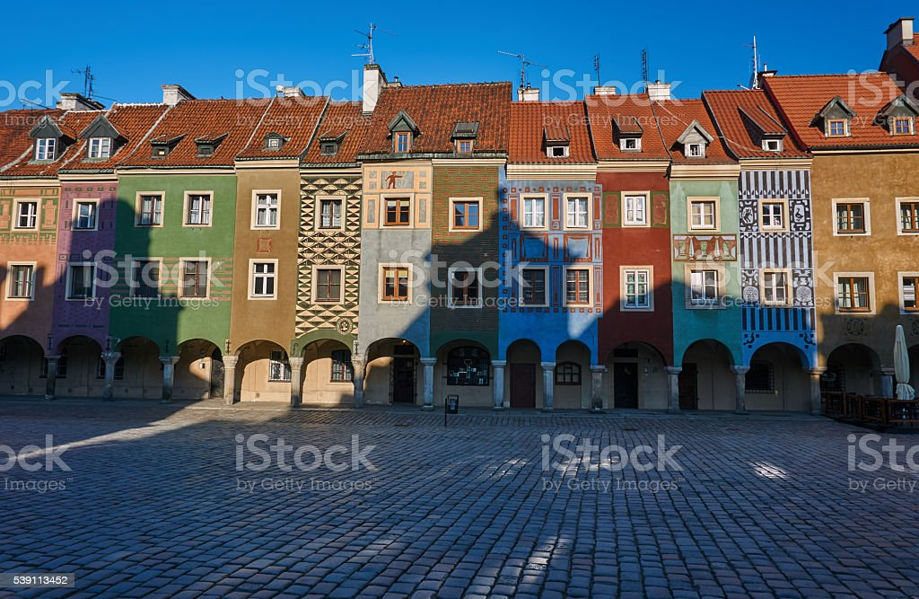 Tenement houses with arcades in the Old Market Square stock photo