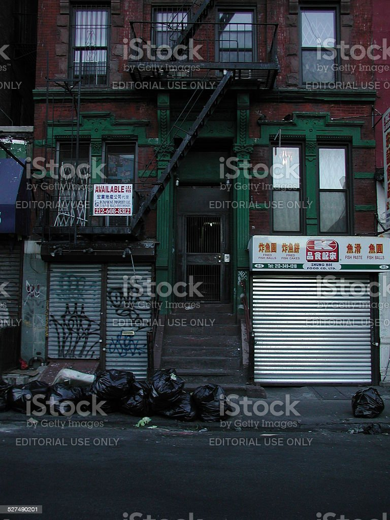 Tenement in Bowery Lower East Side. 85 Ludlow Street NYC stock photo