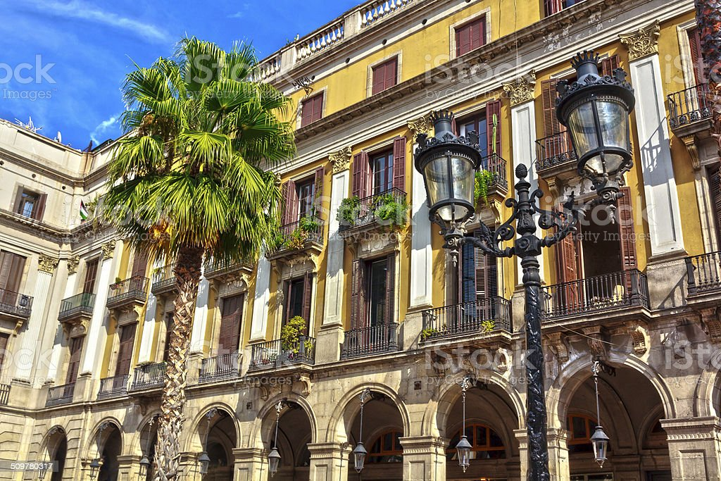 Tenements in the Plaza Real, Barcelona stock photo