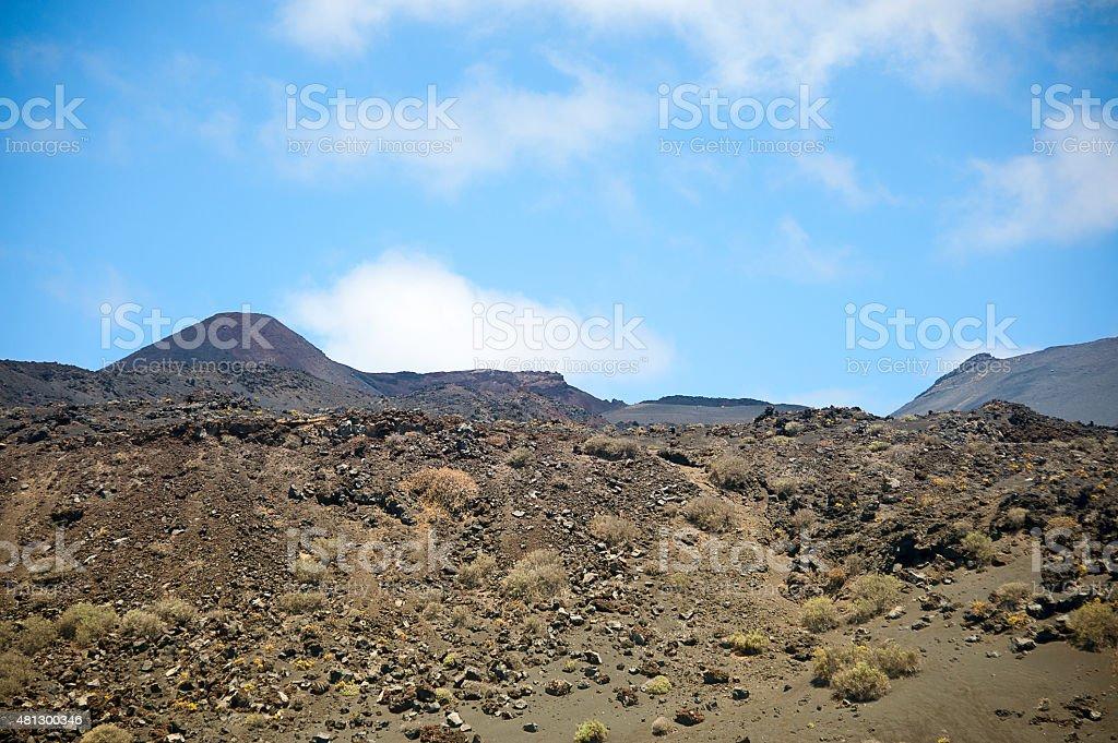 Tenequia Volcano. Lava covering older rocks stock photo