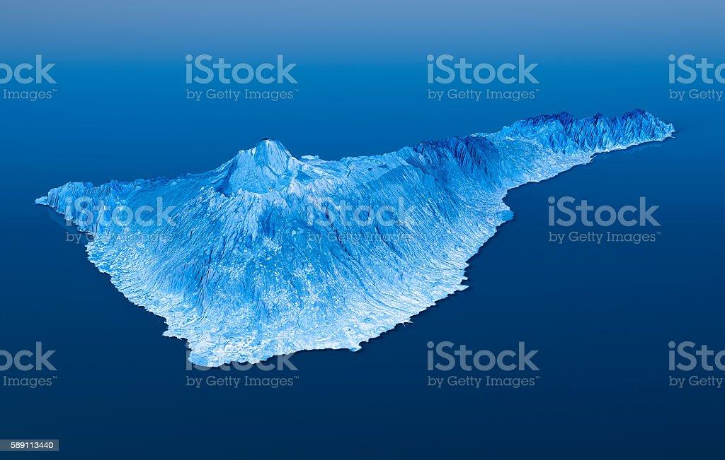 Tenerife Island Topographic Map 3D Landscape View Blue Color stock photo