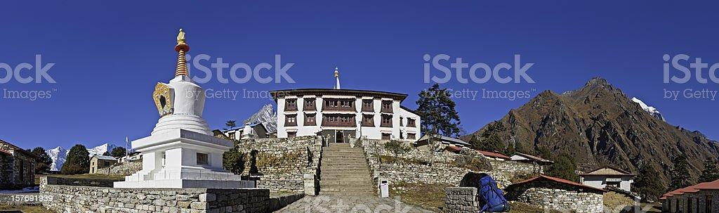 Tengboche monastery buddhist stupa shrine temple panorama Khumbu Himalayas Nepal stock photo