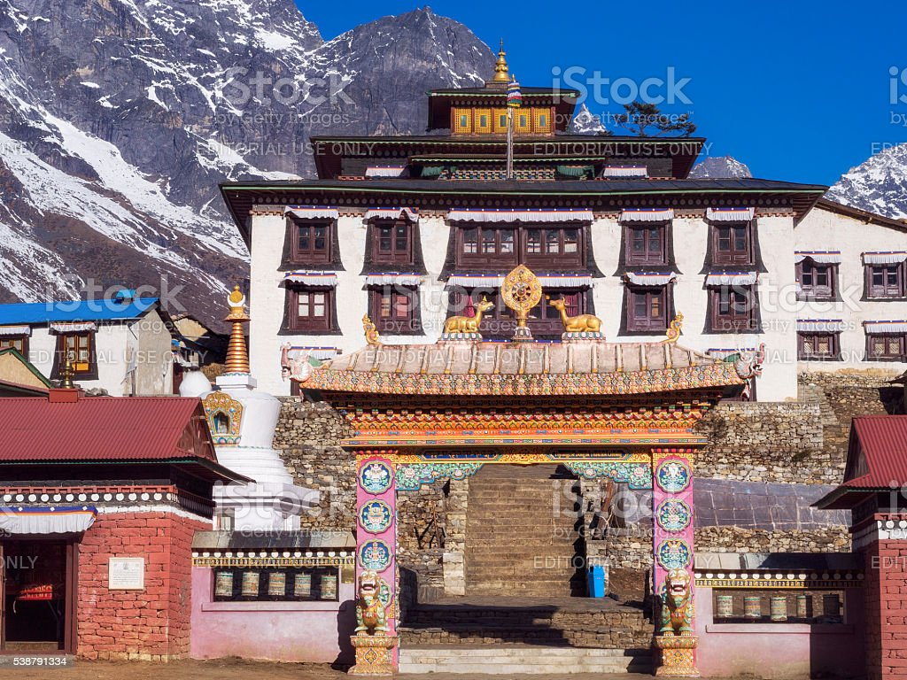 Tengboche Monastery on Everest Base Camp Trek, Khumbu Region, Nepal stock photo