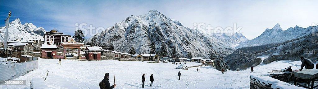Tengboche Monastery panorama and  mountain stock photo