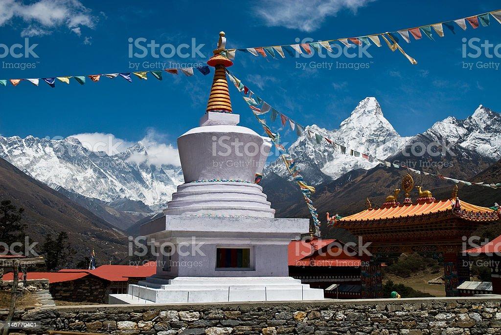 Tengboche Monastery Panorama royalty-free stock photo