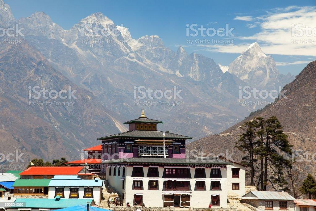 Tengboche Monastery, the best monastery in Khumbu valley stock photo