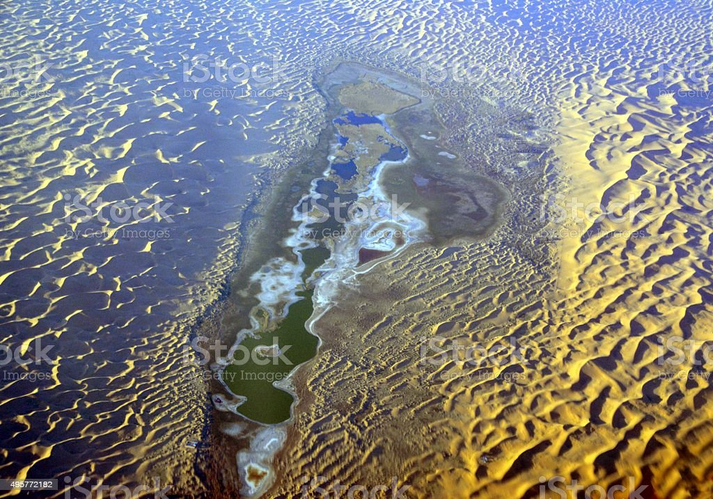 Tengger desert sand sea aerial view, Inner Mongolia, China stock photo
